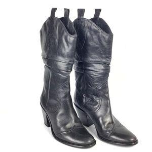 BCBGeneration Boots Black Cowboy Slouch Sz 8 Heels